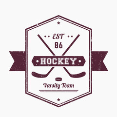 Hockey vintage emblem, logo with crossed sticks, grunge textures can be removed