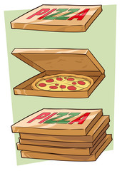 Set of cartoon cool pizza and box