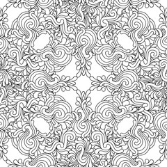 Seamless decorative zentangle graphic pattern on white backgroun