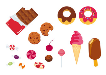Set of icons candy. Vector illustration of candies and sweets. Different types of sweets