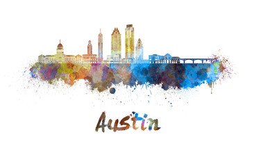 Wall Mural - Austin skyline in watercolor