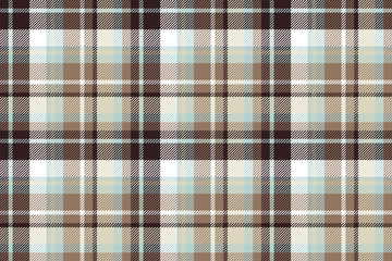 Brown blue check fabric seamless pattern
