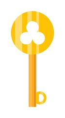 Vintage key door key isolated on white background. Household vintage key. Retro door metal security vintage key and safe house decorative. Decorative key silhouette