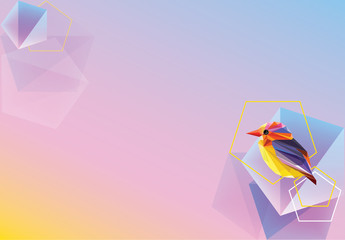 Beautiful creative colorful vibrant wallpaper, banner or background with decorative geometric bird and polygonal shapes