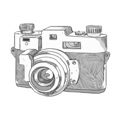 camera freehand sketch - drawing in pencil, black color, photographic instrument