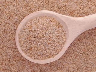 Psyllium seeds husks in wooden spoon