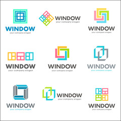 Set of vector logo template for windows companies