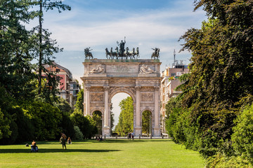Arco della Pace and gardens of Parco Sempione, Milan. Italy