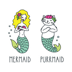 Mermaid and purrmaid. Doodle vector illustration of beautiful mermaid and cute cat-mermaid. Can be used for t-short print, poster or card