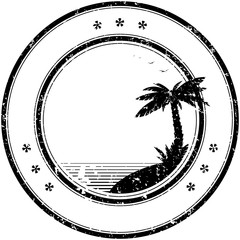 Rubber vector stamp with tropical palm tree