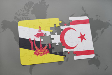 puzzle with the national flag of brunei and northern cyprus on a world map background.