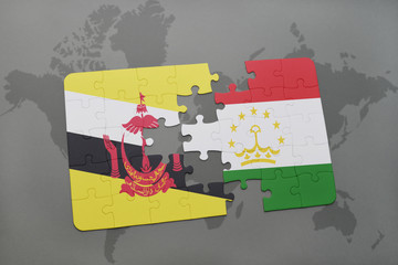 puzzle with the national flag of brunei and tajikistan on a world map background.