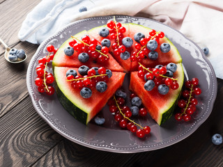 Watermelon cake with berries
