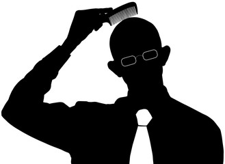 Vector silhouette - Bald man does not need a comb