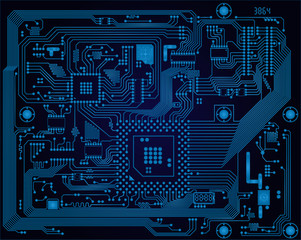 Dark blue industrial electronic circuit board vector abstract ba