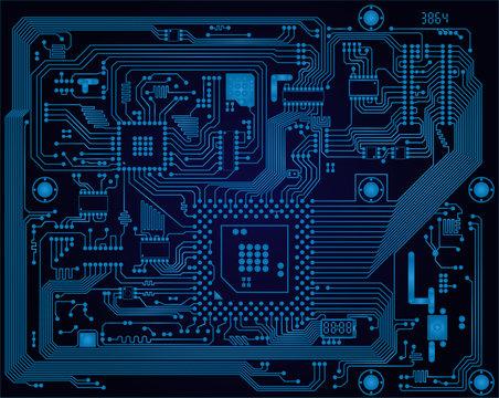Dark blue industrial electronic circuit board vector abstract ba