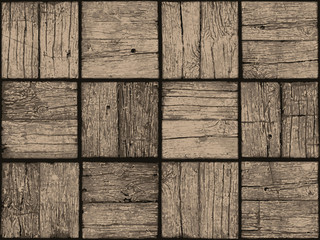 Seamless Tile with a Digital Representation of Weathered Parquet