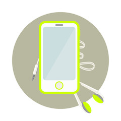 Cell phone with headphones. Vector illustration.