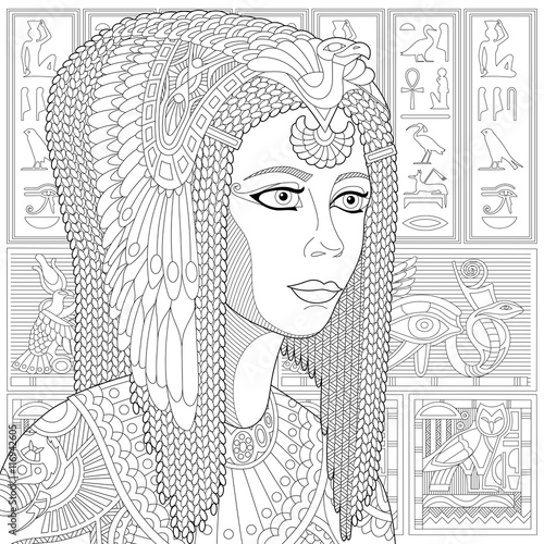 Stylized Ancient Queen Cleopatra Or Nefertiti And Egyptian Symbols Hieroglyphs On The