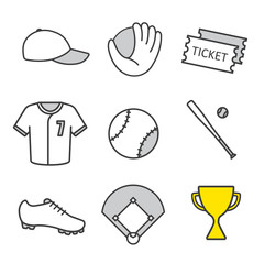 Baseball equipment linear icons set