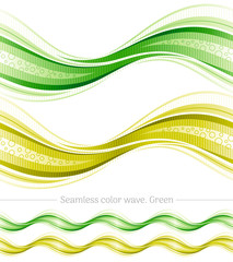 Abstract seamless wave pattern on white background. Vector illustration set with three gradient colors - green, yellow. Elegant design template.