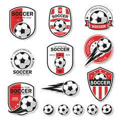 Vector illustration set of logos on football theme, as well as items for the game of football. It can be used as an emblem, logo and template for soccer tournaments.