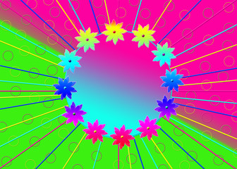 Bright and colorful background with gradient flower ring and text area inside.  Fuchsia pinks, green, blues and yellows.  Slight Abstract design