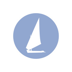 Vector illustration Yacht silhouette in a circle