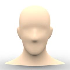 シンプルな人物の顔の素体3Dレンダリング画像