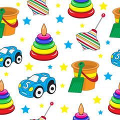 Baby toys seamless texture, children's wallpaper, background. Vector illustration.