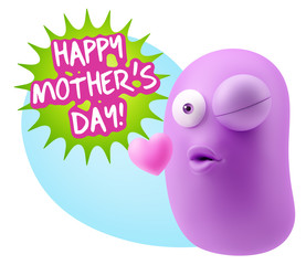 3d Rendering. Kiss Emoticon Face saying Happy Mother's Day with