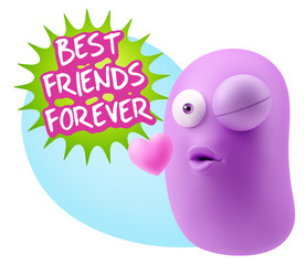 3d Rendering. Kiss Emoticon Face saying Best Friends Forever wit