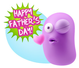 3d Rendering. Kiss Emoticon Face saying Happy Father's Day with