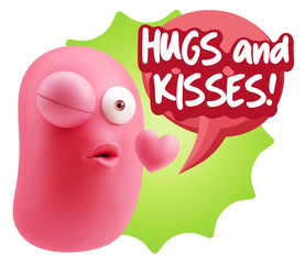 3d Rendering. Kiss Emoticon Face saying Hugs And Kisses with Col