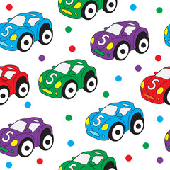 Children's toy car seamless texture. Car background, children's wallpaper. Vector illustration