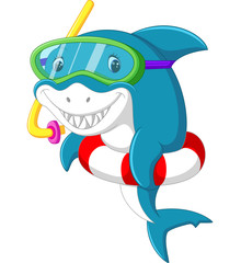 Cute shark cartoon with inflatable ring