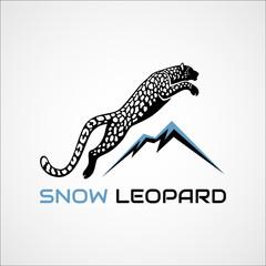 Snow Leopard vector illustration logo, sign, emblem on vector illustration