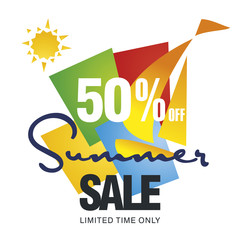 Summer sale 50 percent off discount offer sailboat color background vector
