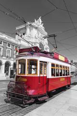 red retro tram Commerce Square in Lisbon