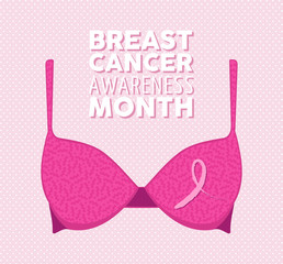 Pink bra and ribbon illustration for breast cancer