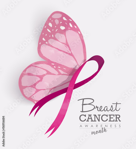 """Pink ribbon with butterfly wings for breast cancer"" Stock"