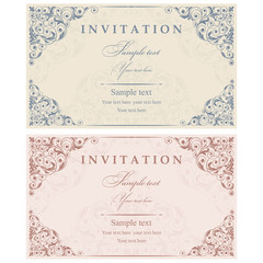 Wedding Invitation cards in an old-style blue and pink