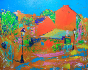 Abstract painting of the Paris cityscape