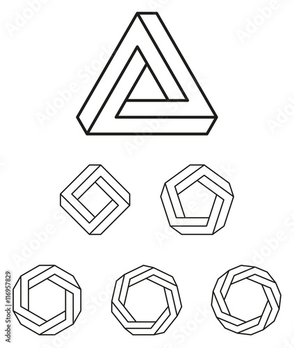 Penrose triangle and polygons outline. The Penrose tribar, an ...