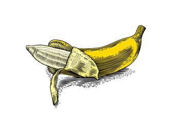 Partially peeled banana