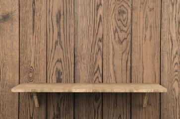 wooden shelf on wooden background