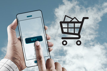 Hand Using Mobile to Shopping, Mobile Online Marketing Concept
