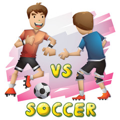Cartoon vector soccer Olympic sport with separated layers for game and animation, game design asset