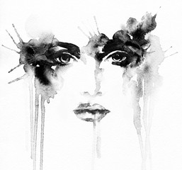 Deurstickers Aquarel Gezicht Beautiful woman portrait. Abstract fashion watercolor illustration