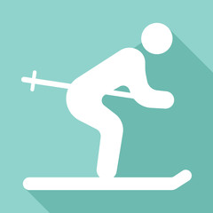 ski flat icon with long shadow